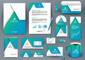 Professional universal blue branding design kit with origami element.