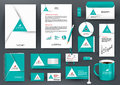 Professional universal green branding design kit with triangle origami element. Royalty Free Stock Photo