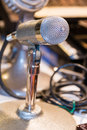 Professional vintage microphone retro style and silver Royalty Free Stock Photos
