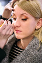 Professional visagiste does a make up attractive girl Royalty Free Stock Photography