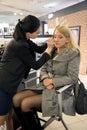 Professional visagiste does a make up latvia riga februari to model in studio forever in riga latvia Stock Photos