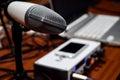 Professional White Studio Recording Mic Royalty Free Stock Photo