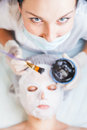Professional woman, cosmetologist in spa salon applying mud face mask Royalty Free Stock Photo