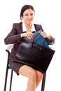 Professional woman with documents bag beautiful taking out from her Stock Photos