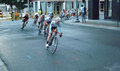 Professional Women Bicycling Racers Competing Royalty Free Stock Photo
