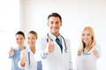 Professional young team or group of doctors healthcare and medical showing thumbs up Royalty Free Stock Photography