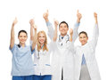 Professional young team or group of doctors showing thumbs up Royalty Free Stock Photo