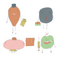 Professions different shape monsters show peoples on the white background Stock Images
