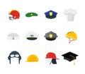 Professions Hats Set for Men. Vector