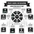 Professions infographic concept, simple style