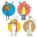 Professions set vector cartoon drawings Royalty Free Stock Photography