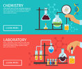 Professor Of Chemistry Flat Banner Set Royalty Free Stock Photo