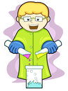 Professor Doing Chemical Experiment Cartoon