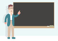 Professor in front of a blackboard retro style Royalty Free Stock Image
