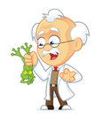Professor holding frog clipart picture of a cartoon character Royalty Free Stock Photography