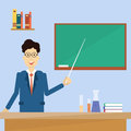 Professor Point Pointer To Green School Clack Board Royalty Free Stock Photo