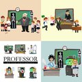 Professor and student illustration, Girl and boy with teacher in college classroom, vector campus university, education Royalty Free Stock Photo