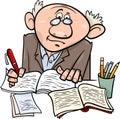 Professor or writer cartoon illustration Royalty Free Stock Photo