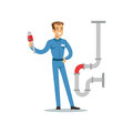 Proffesional plumber man character with monkey wrench repairing pipeline, plumbing work vector Illustration Royalty Free Stock Photo