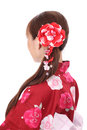 Profile of asian woman in kimono Royalty Free Stock Photos