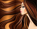 Profile of beautiful girl with long hairs woman red Royalty Free Stock Photography