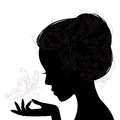 Profile face young woman silhouette and butterfly hand drawing illustration on white background Royalty Free Stock Photography