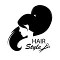 Profile face young woman silhouette design elements for barber shop women hairstyle black and white hand drawing illustration Stock Photos