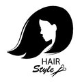 Profile face young woman silhouette design elements for barber shop women hairstyle black and white hand drawing illustration Royalty Free Stock Photos
