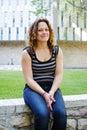 Profile of female student on university campus Royalty Free Stock Photos