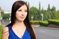Profile of girls next to the road Royalty Free Stock Photo