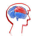 Profile of head and brain in the design information related to the design ideas Royalty Free Stock Photos