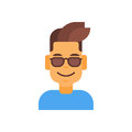Profile Icon Male Emotion Avatar, Man Cartoon Portrait Happy Smiling Face Wear Sunglasses Royalty Free Stock Photo