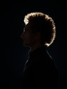 Profile of man in black shadow side view with back lighting on background Royalty Free Stock Photos