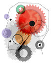 Profile picture head with gears the machine in the head Royalty Free Stock Photo