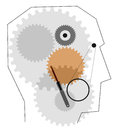 Profile picture head with gears the machine in the head Royalty Free Stock Image