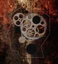 Profile picture head with gears the machine in the head Royalty Free Stock Images