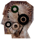 Profile picture head with gears the machine in the head illustration Royalty Free Stock Images