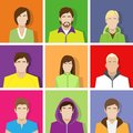 Profile set icon avatar male and female portrait casual person colorful silhouette face flat design vector Royalty Free Stock Photos