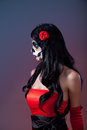 Profile shot of sugar skull girl day the dead halloween theme Stock Image