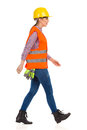 Profile Of Walking Woman Construction Worker Royalty Free Stock Photo