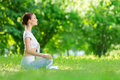 Profile of woman in asana position who sits concept healthy lifestyle and relaxation Stock Image