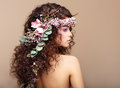 Profile of Woman with Colorful Wreath of Flowers.  Stock Photos