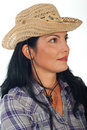 Profile of woman with cowboy hat Royalty Free Stock Photo