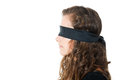 Profile of young female with blindfold black isolated on white Royalty Free Stock Image