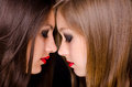 Profiles of two beautiful girls being intimate isolated on black background Stock Image