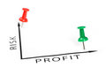 Profit chart with green and red pin Royalty Free Stock Photo