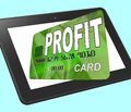 Profit on credit debit card calculated shows earn money showing Royalty Free Stock Photo