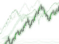 Profit gain price movement illustration of chart with green candlesticks in form of bullets currency war concept Royalty Free Stock Image