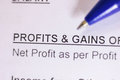 Profit and gain word on paper close up of Stock Photo