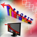 Profit graph and monitor bar graph illustrated in sky background Royalty Free Stock Images